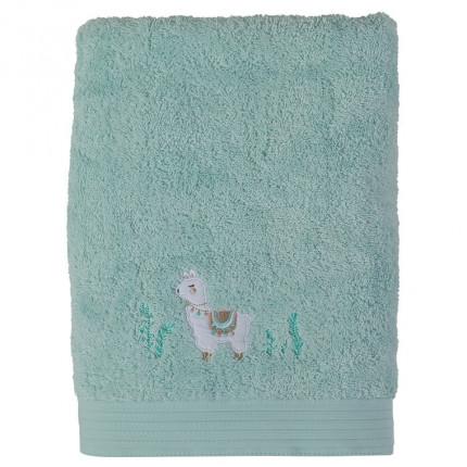 Drap de bain bouclette de coton biologique broderie lama Inca vert céladon