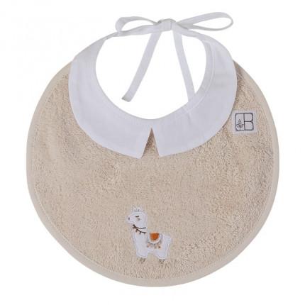 Mini bavoir bouclette de coton biologique broderie lama Inca beige