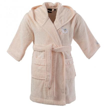 Peignoir enfant bouclette de coton biologique à capuche brodé Inca blush