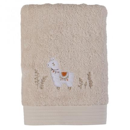 Serviette de toilette bouclette de coton biologique broderie lama Inca beige