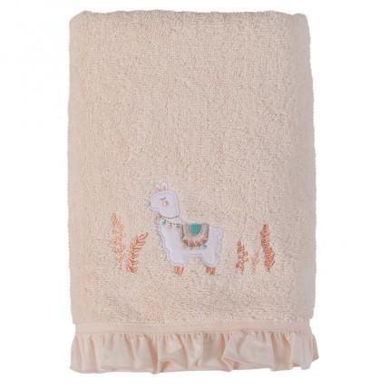 Serviette de toilette bouclette de coton biologique broderie lama Inca blush