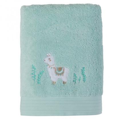 Serviette de toilette bouclette de coton biologique broderie lama Inca vert céladon