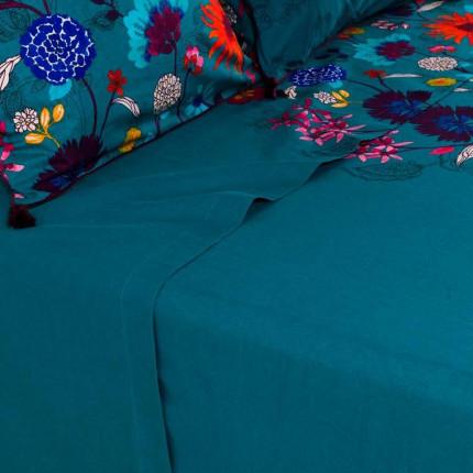 Drap de lit lin et coton imprimé motif floral indien Indie