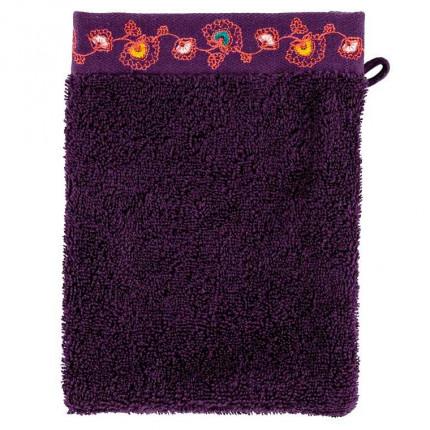 Gant de toilette coton brodé floral indien Indie prune