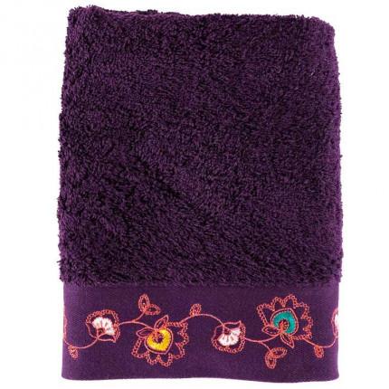 Serviette de toilette coton brodée floral indien Indie prune
