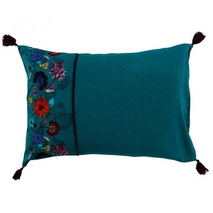 Taie d'oreiller rectangulaire lin et coton imprimé motif floral indien Indie