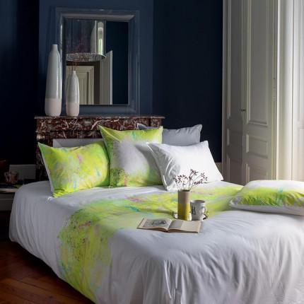Parure de lit percale de coton imprimée paysage Infusion classique chic