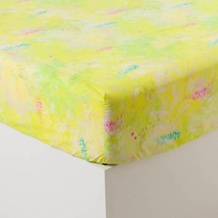 Drap housse percale de coton imprimé paysage Infusion
