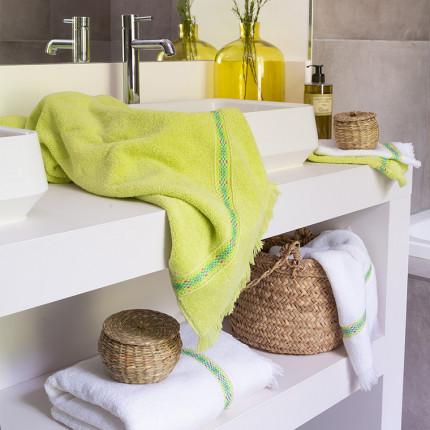 Parure de bain bouclette de coton unie jacquard Infusion