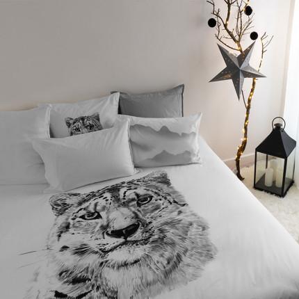 Parure de lit percale de coton imprimée panthère Irbis urbain