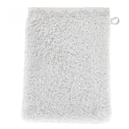 Gant de toilette bouclette de coton brodé Irina perle
