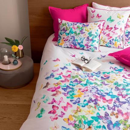 Parure de lit percale de coton imprimée papillons Issoria