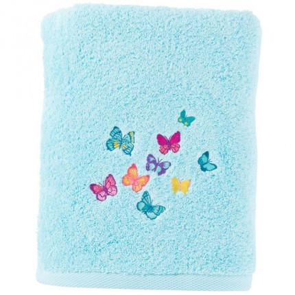 Drap de bain bouclette de coton brodé papillons Issoria lagon