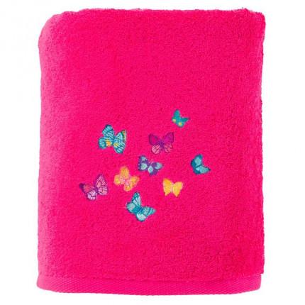 Drap de bain bouclette de coton brodé papillons Issoria magenta