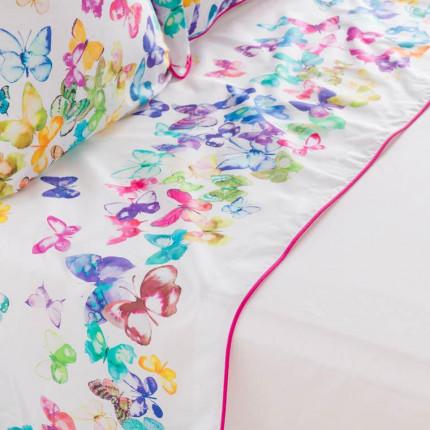 Drap de lit percale de coton imprimé papillons Issoria