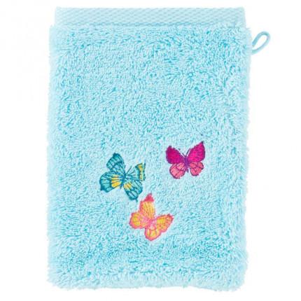 Gant de toilette bouclette de coton brodé papillons Issoria lagon