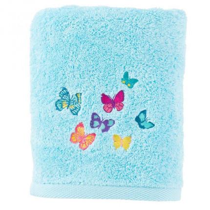 Serviette de toilette bouclette de coton brodée papillons Issoria lagon