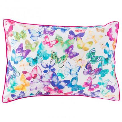 Taie d'oreiller rectangulaire percale de coton imprimée papillons Issoria