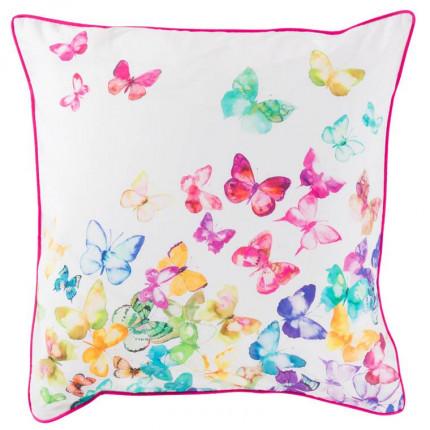 Taie d'oreiller carrée percale de coton imprimée papillons Issoria