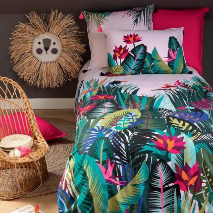 Parure de lit enfant percale de coton imprimée fresque jungle tropicale Jalapao