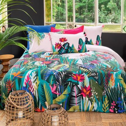 Parure de lit percale de coton imprimée fresque jungle tropicale Jalapao