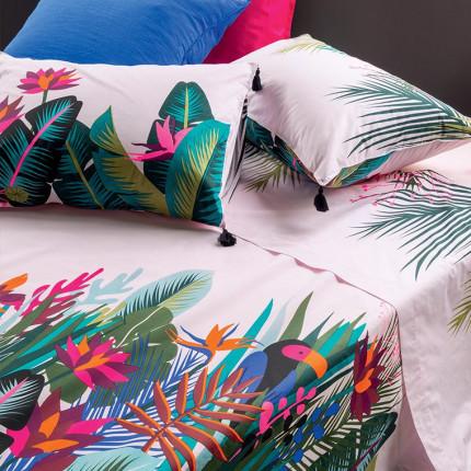 Drap de lit percale de coton imprimé fresque jungle tropicale Jalapao