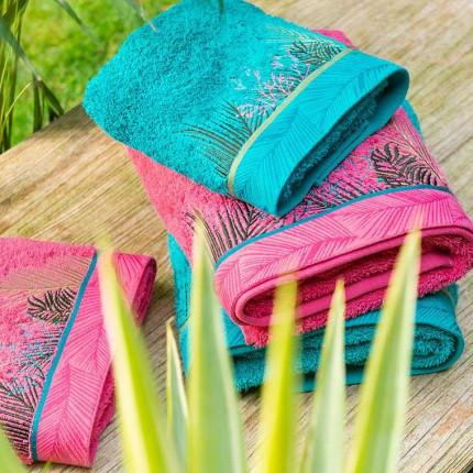 Parure de bain bouclette de coton brodée fresque jungle tropicale Jalapao