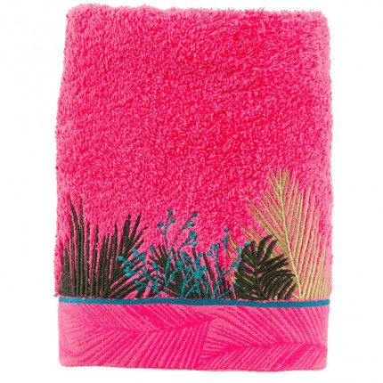 Serviette de toilette bouclette de coton brodée fresque jungle tropicale Jalapao fuchsia