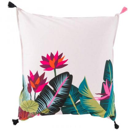 Taie d'oreiller carrée imprimée fresque jungle tropicale Jalapao