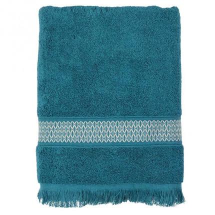 Drap de bain bouclette de coton Java bleu paon