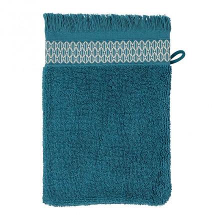 Gant de toilette bouclette de coton Java bleu paon