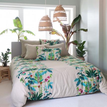 Parure de lit coton et lin imprimée végétale Java exotique