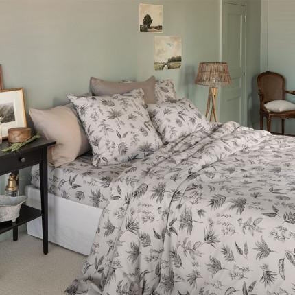 Parure de lit coton et lin imprimée aquarelle végétale Java classique chic