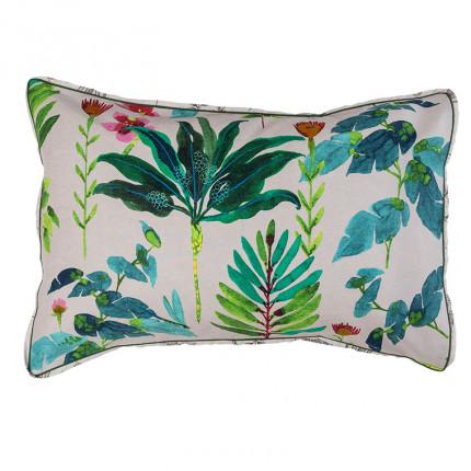 Taie d'oreiller rectangulaire coton et lin imprimée végétale Java grège