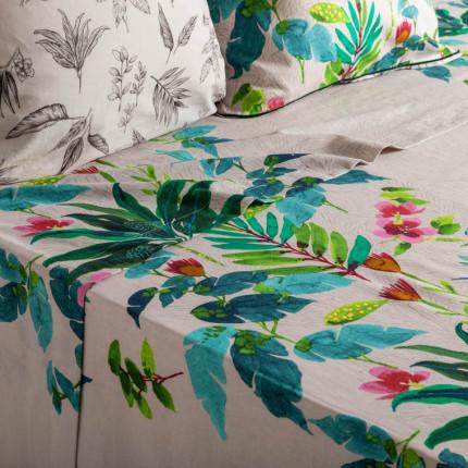 Drap de lit coton et lin imprimé végétal Java grège