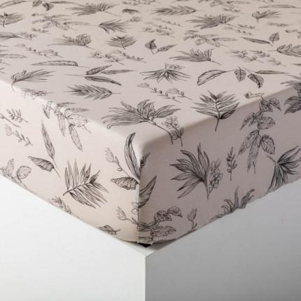 Drap housse coton imprimé végétale Java grège