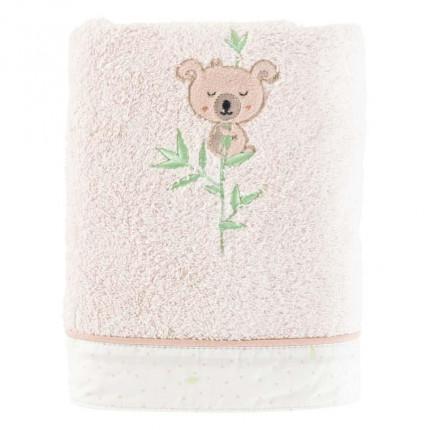 Serviette de toilette  coton broderie koala Koalin lin