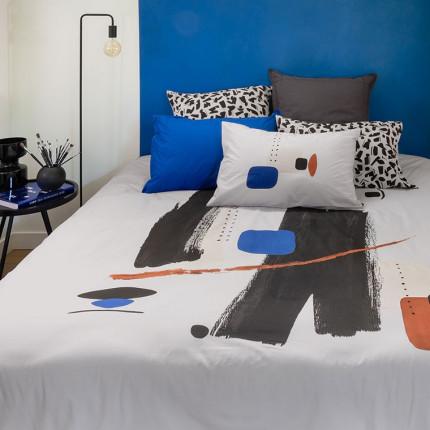 Parure de lit percale de coton imprimée graphique Kuro