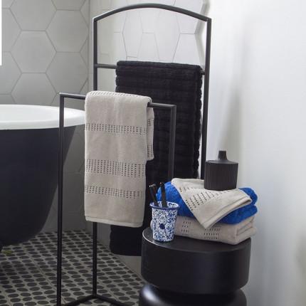 Parure de bain bouclette de coton tissage jacquard Kuro mastic