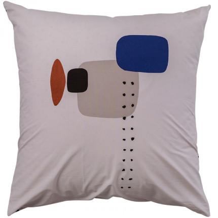 Taie d'oreiller carrée percale de coton imprimé graphique Kuro