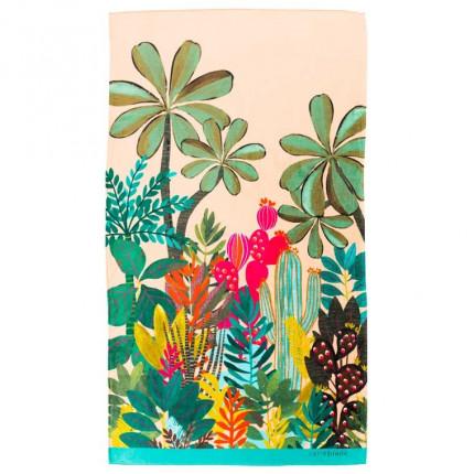 Serviette de plage velours de coton imprimée tropical Latina