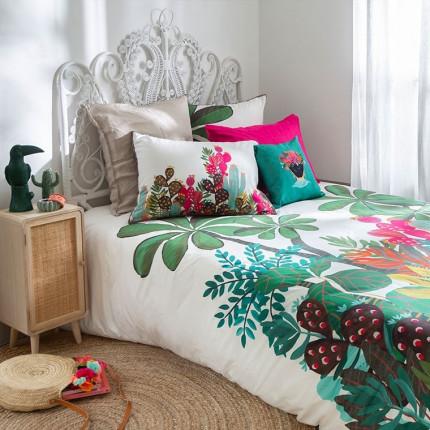 Parure de lit percale de coton imprimée feuillage Latina enfant
