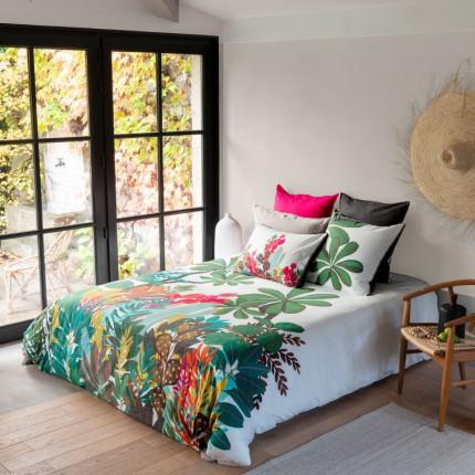 Parure de lit percale de coton imprimée feuillage Latina exotique
