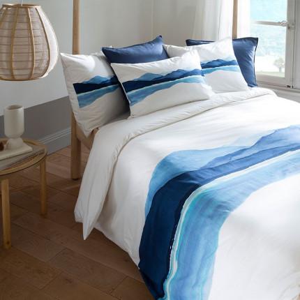 Parure de lit percale de coton imprimée paysage de montagne Le lac bord de mer