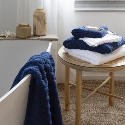 Parure de bain coton moelleux texturé unie Le lac