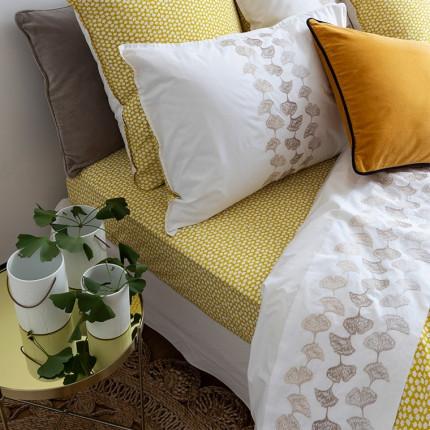 Drap de lit percale de coton brodé fleuri Ginkgo blanc