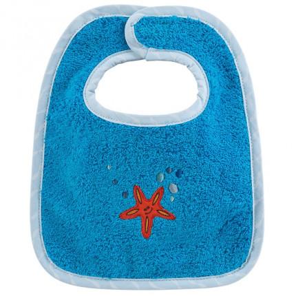 Mini bavoir coton brodé étoile de mer LOHAN bleu