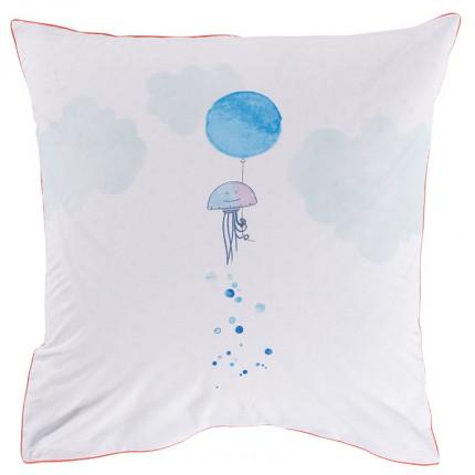 Taie d'oreiller carrée coton méduse et poissons aquarellés LOHAN