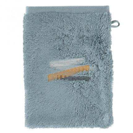 Gant de toilette bouclette de coton brodé Lorenzo glacier
