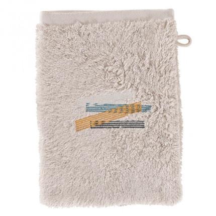 Gant de toilette bouclette de coton brodé Lorenzo lin